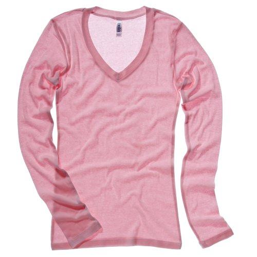 Bella + Canvas Womens/Ladies Sheer Mini Rib Long Sleeve V-Neck T-Shirt (6 US) (Pink)