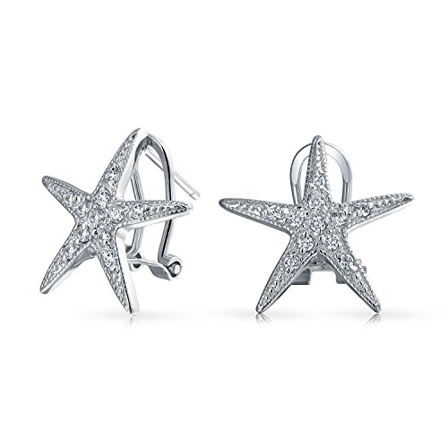 (Nautical Ocean Tropical Beach Cubic Zirconia Pave CZ Starfish Stud Earrings For Women 925 Sterling Silver Omega Clip)
