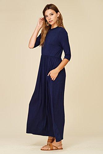 3/4 Manches Longues Robes Maxi Poches Latérales De La Marine Des Femmes Annabelle