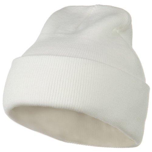 12 Inch Long Knitted Beanie - White OSFM (White Classic Beanie)