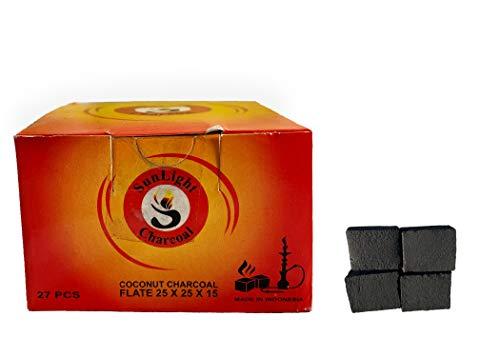 Sunlight Charcoal Coconut Coals - Coconut Charcoal Tablets for Shisha/Incense - Natural, No Odor, No Bad Taste - Easy to Light Coconut Coals - 2.5 x 2.5 x 1.5 cm - 108/54/ 27 Pack (27)