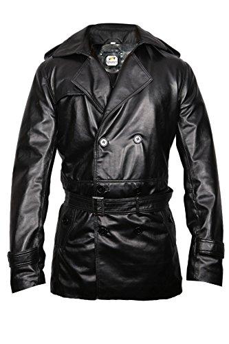 Sputer Mystique Mens Black Leather Pu Faux Trench Coat, X...