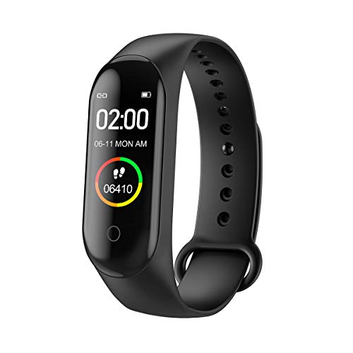 M4 Smart Watch Fitness Tracker with IPS Color Screen, Waterproof Activity Watch with Heart Rate Monitor Blood Pressure Sleep Monitor Calorie Counter for Kid Women Man