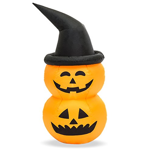 Best Choice Products 4ft Inflatable Witch Jack O'Lantern Pumpkin Halloween Decoration for Yard, Lawn, Party, Event w/LED Lights, Internal - Internal Decoration