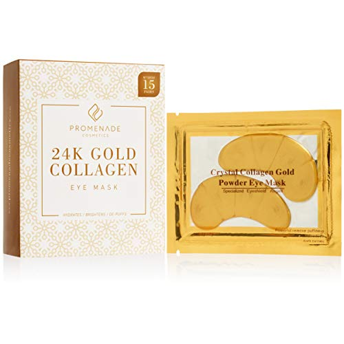 24K Gold Collagen Eye Mask by Promenade Cosmetics - Anti Aging Beauty Masks for Dark Circles and Puffiness Under Eyes | Anti Wrinkle and Face Skin Treatment Pads for Men ()