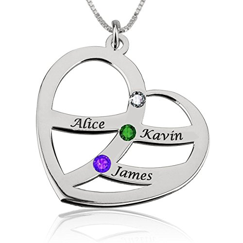 (Ouslier 925 Sterling Silver Personalized Heart Pendant Name Necklace with Birthstone Custom Made with Any Names (Silver Three Names))