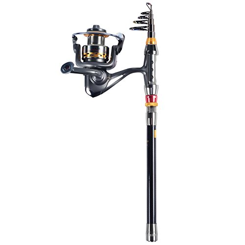 FISHINGSIR Fishing Rod and Reel Combos - Portable Travel Carbon Fiber Fishing Rod and 7+1 Ball Bearing Spinning ()