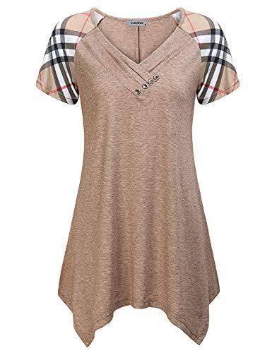 Loose Fitting Tops for Women, Feminine Boutique Clothes Drape V Neck Short Sleeve T Shirt Irregular Waterfall Hem Stretchy Easy Fit Spring Tunic Blouse Beige M
