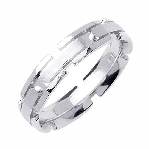 14K White Gold 5mm Bar Link Wedding Band Promise Ring Comfort (14k Gold Bar Link)