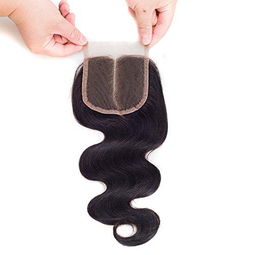 DFX Hair 8~30 Brazilian Lace Closure 4x4 Middle Part 100% Body Wave Human Hair Brazilian Virgin Hair, 6A Natural Color