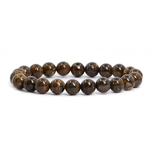Justinstones Natural Bronzite Gemstone 8mm Round Beads Stretch Bracelet 7