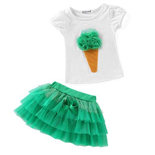 140cm Traje Para Yahuyaka Linda Piezas Ropa color Dos Camiseta Bebé Size Verano Tutú Con Blue Green Vestido De aPRxH1P