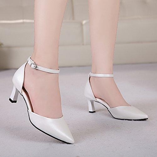 Fine Travail Talon Talon Boucle Un Femmes Sandales Baotou Mot De Creux unie SHOESHAOGE Chaussures Haut Chaussures Femmes Couleur fq1RWfwg
