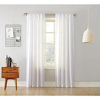 "No. 918 Marley Semi Sheer Rod Pocket Curtain Panel, 40"" x 95"", White"