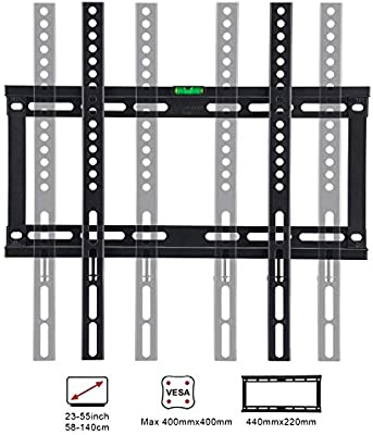 Famgizmo Soporte para TV Pared de Televisor 22-55 Pulgadas (55-140cm) de Pantalla Plana(LED LCD Plasma 4K 3D), Máx Vesa 400x400mm, hasta 50kg(110lbs), Negro, con Nivel de Burbuja: Amazon.es: Electrónica