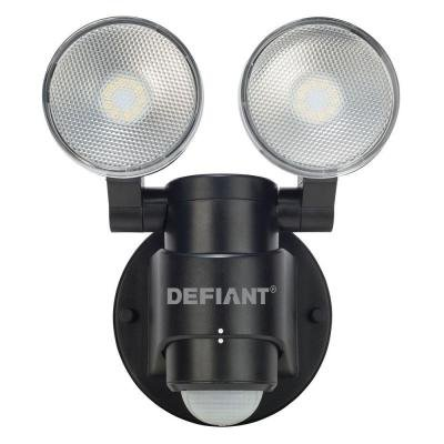 180-Degree 2-Head Outdoor Motion Activated Black Flood Light