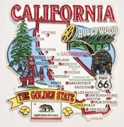 California State Elements Map Fridge Collectible Souvenir Magnet (Collectible Magnet)