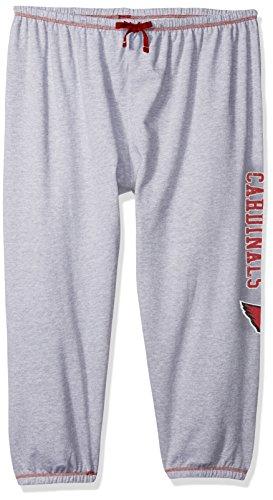 NFL Arizona Cardinals Women Lt Weight Fleece Pant W/Topstitch Trim Outside Ds W/M Logo Down Leg, Heathergrey, 3X ()