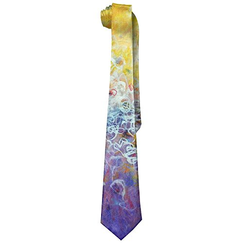 Watercolour Colorful Abstract Cool Men's Wide Polyester Silk Tie Necktie