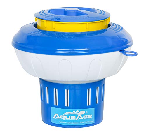AquaAce Refill-Alert Floating Pool Chlorine Dispenser, Premium Floater with Yellow Empty Alert, Chemical Holder for Chlorine Tablets up to 3 inches, Adjustable 15 Flow Vents for Increased Control (Pop Up Swimming Pool)