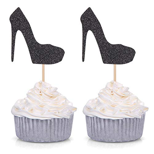 Pack of 24 Gold Glitter High Heel Cupcake