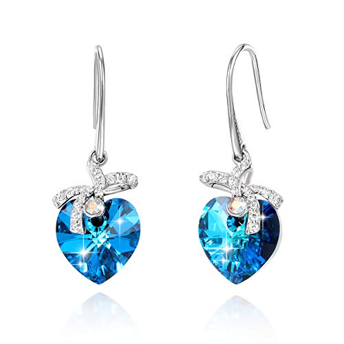 18K white Gold Plated Love Heart Dangle Drop Earrings with Swarovski Crystals and CZ French Hook Dangle Earrings Fine Jewelry Gift for Women Girls ()