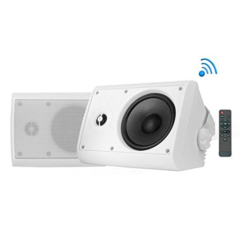 Pyle Indoor/Outdoor Wall Mount Speaker – Waterproof Rated – White – PDWR46IFBWT