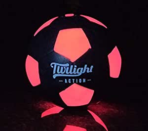 Twilight Action LED Light Up Soccer Ball Size 5-for Nighttime Play. Impact Activated –has Two Bright LEDs Inside with Batteries & Pump Included. Perfect for Boy Gifts and Family Games