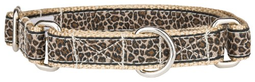 Country Brook Design - Leopard Print Woven Ribbon Martingale Dog Collar Limited Edition - Medium