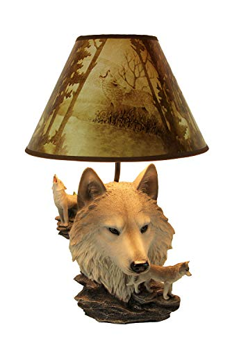 (Gray Wolf Bust Table Lamp W/Nature Print Shade)