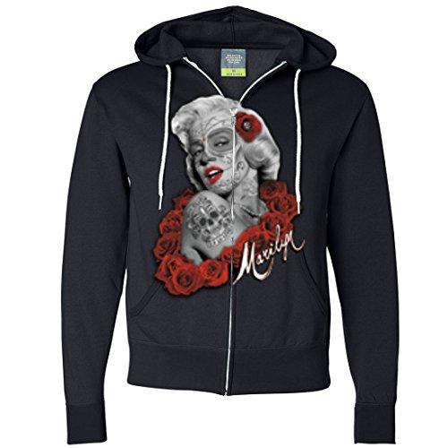 Dia De Los Muertos Marilyn Monroe Zip-Up Hoodie - Navy X-Large