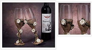2 copas de cáñamo de encaje para decoración de copas de vino hechas a mano para novia y novio, copas de champán para tostar, regalos de boda, recuerdos de boda, regalos de