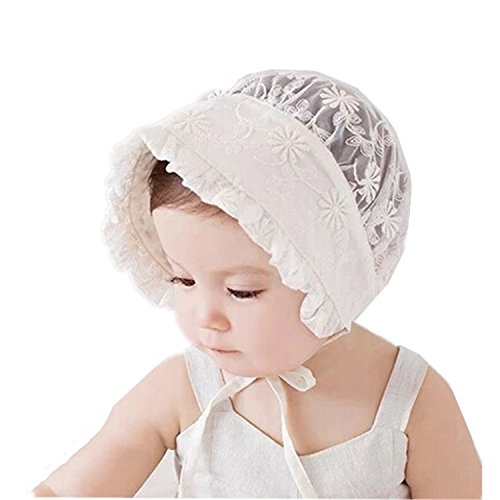 Bigface Up Little Kids Toddlers Eyelet Lace Breathable Bonnet With Flower Hat(Flower pattern -
