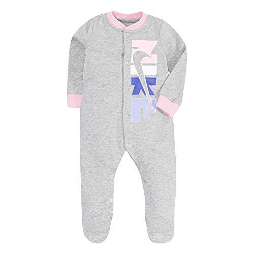One Piece Newborn Logo - Nike Baby Graphic Logo Footed Coverall, Dark Grey Heather(06E127-042)/Purple 0-3 Months