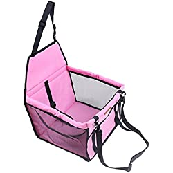 BlackHumor Dog Pet Car Booster Seat, Foldable Dog Cat Pet Carrier Bag Sleeping Bag, Portable Lookout Car Seat for Small and Medium Pet (Pink)
