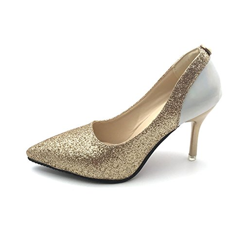 Shoes High Women Spring Gold Heeled Wedding Dress Shoes Boat Stewart Pumps Bling Beverly Autumn Silver Thin Shoes Heels Sequined CwvFqXvgt