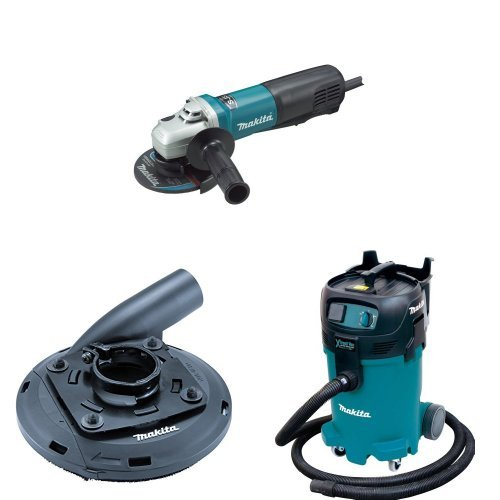 Makita 9565PC 5-Inch SJS Paddle Switch Angle Grinder, 195236-5 Surface Grinding Shroud, VC4710 12-Gallon Xtract Vac Wet/Dry Dust Extractor/Vacuum