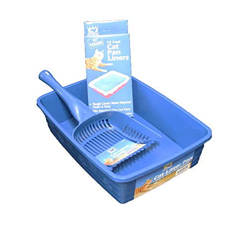 Cat Litter Pan Kit - 3 Piece Set Includes Pet Litter Box, Litter Scoop Shovel, and Pan Liners - Great Starter Pack for Cats and Kittens - Blue
