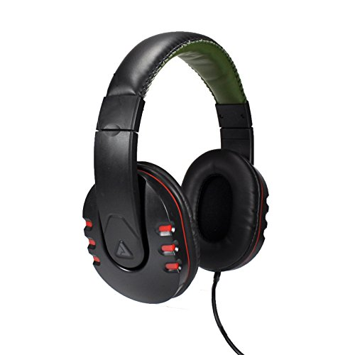 Audio Council Onyx Premium DJ Style Over-Ear Headphones (Black/Red)