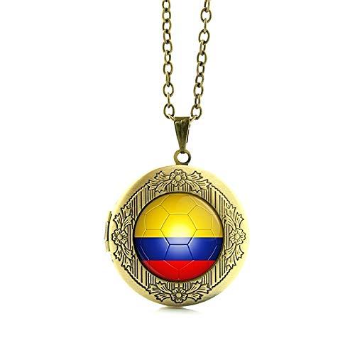 Pendant Necklaces - Portugal Football Team Locket Necklace Argentina Australia Belgium Bosnia Colombia Costa Rica Ecuador Team Jewelry N512 - by Mct12-1 PCs ()