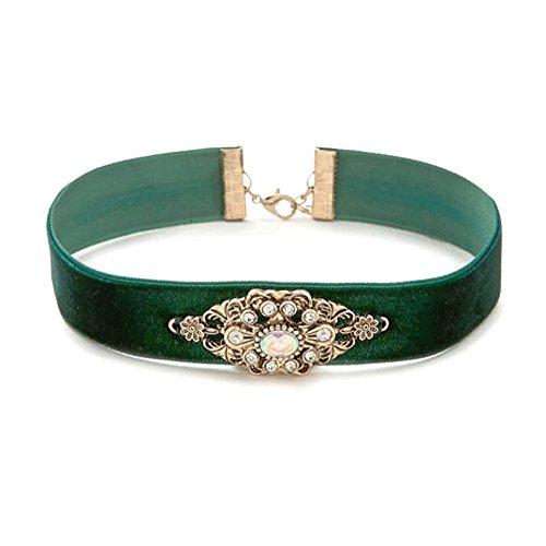 Elegant Women's Girls Velvet Ribbon Choker Collar Pendant Necklace … (Green)
