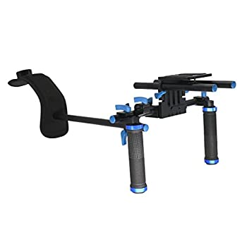 Kimorikisei DSLR Rig Shoulder Mount Include Camera/Camcorder Mount Slider, Double-hand Handgrip,Shoulder Pad For All Video Cameras and DV Camcorders.