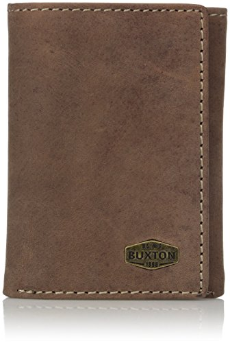 Buxton Men's Expedition RFID Blocking Leather Three-fold Wallet, Walnut, One Size - Fold Mens Wallet Three