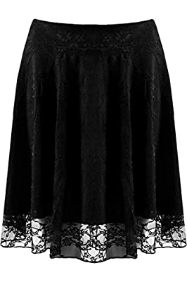 WearAll Women's Floral Lace Lined Flared Skater Mini Skirt Stretch Pleated