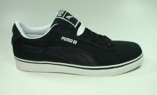 PUMA Men's S Vulcanized Canvas Fashion Sneaker,Black/White,9.5 D US