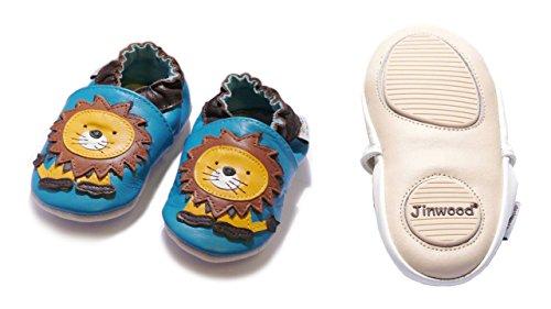 Jinwood designed by amsomo 12 Verschiedene Modelle - Boys - Jungen - Hausschuhe - Echt Leder Lederpuschen - Krabbelschuhe - Soft Sole/Mini Shoes Div. Groeßen 17/19-35/36 lion blue mini shoes