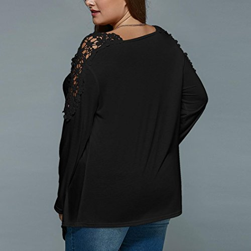 84020bd7ec21 well-wreapped Paymenow Women s Summer Plus Size Blouse Long Sleeve Lace  Hollow Out Casual Tops