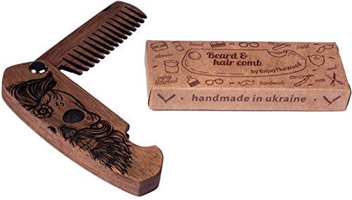 beard comb wood folding walnut skull by enjoy the wood moustache comb wooden folding comb. Black Bedroom Furniture Sets. Home Design Ideas