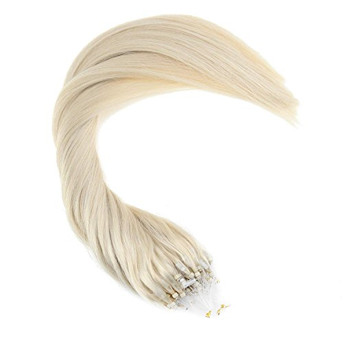 Ugeat 16inch 100Gram Human Hair Extensions Color #60 White Blonde Hair Extensions Human Hair Micro Ring Extensions Straight Hair by Ugea (Image #4)