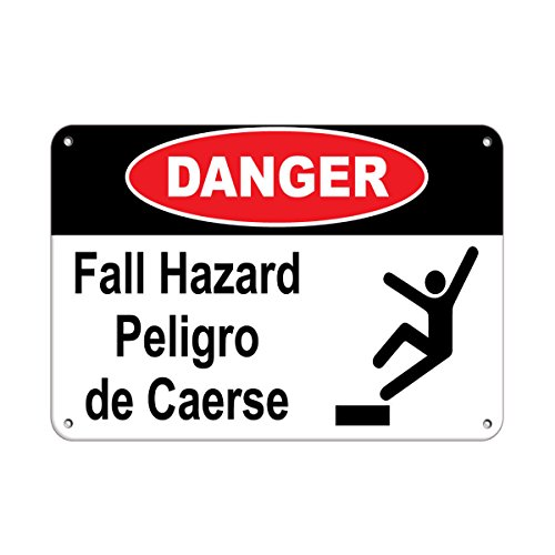 Danger Falling Hazard Peligro De Caerse Fall Hazard Signs Aluminum Metal Sign 10 in x 14 in Custom Warning & Saftey Sign Pre-drilled Holes for Easy mounting